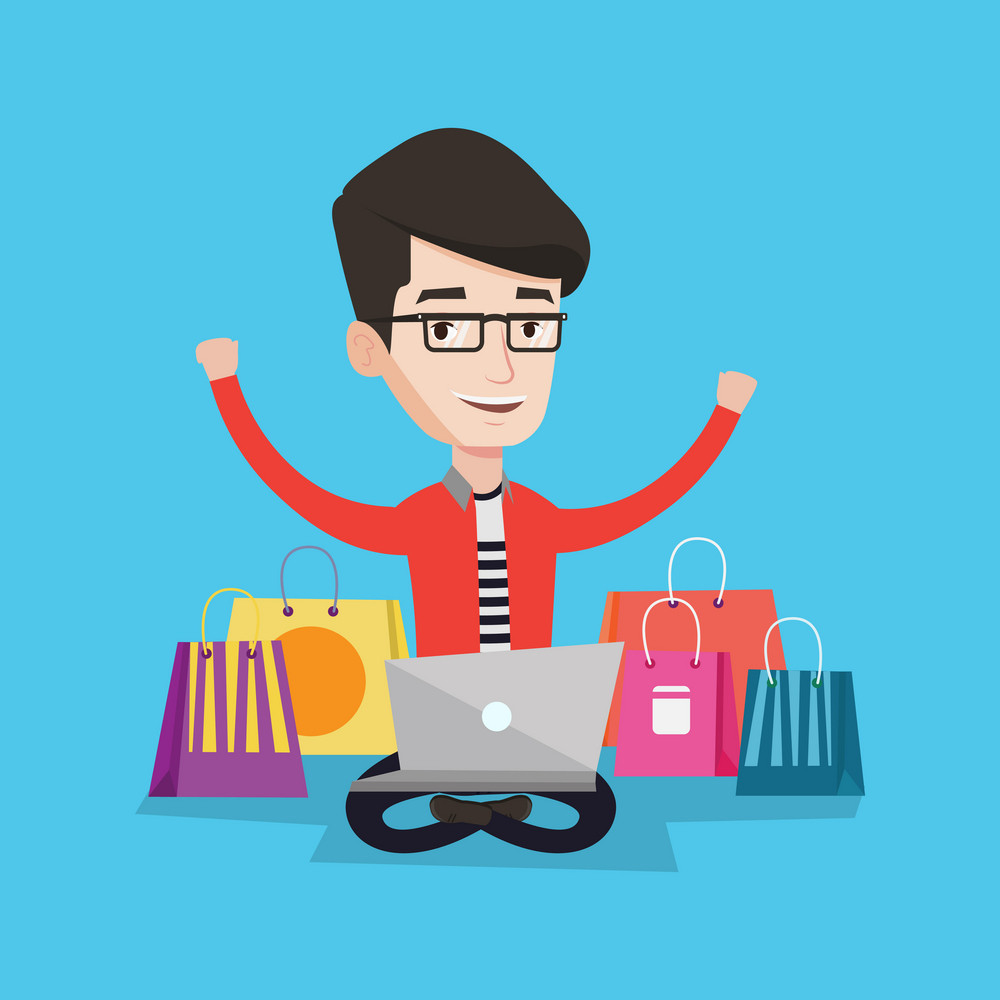 Young caucasian man with hands up using laptop for shopping online. Happy customer sitting with shopping bags around him. Man doing online shopping. Vector flat design illustration. Square layout.
