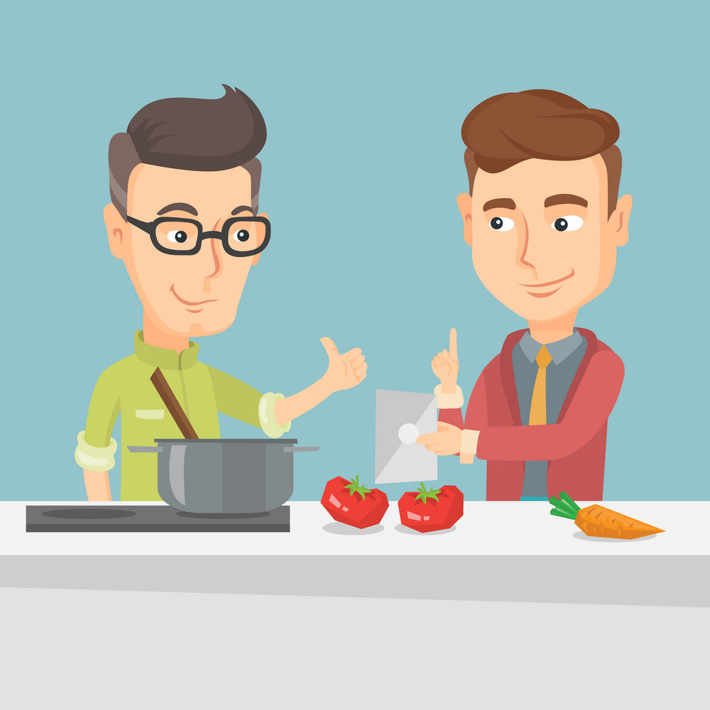 Young caucasian men following recipe for healthy vegetable meal on digital tablet. Friends cooking healthy meal. Friends having fun cooking together. Vector flat design illustration. Square layout.