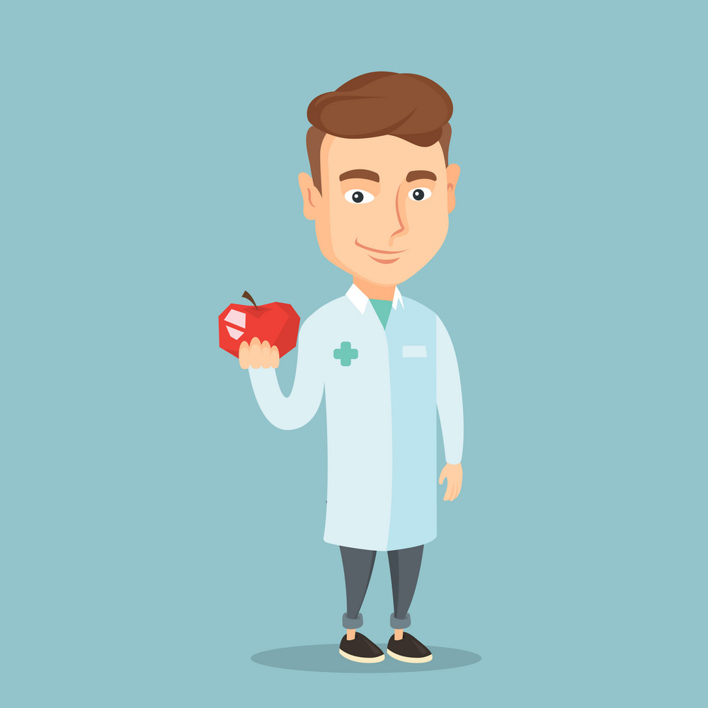 Young caucasian nutritionist prescribing diet and healthy eating. Smiling confident nutritionist holding an apple. Nutritionist offering fresh red apple. Vector flat design illustration. Square layout