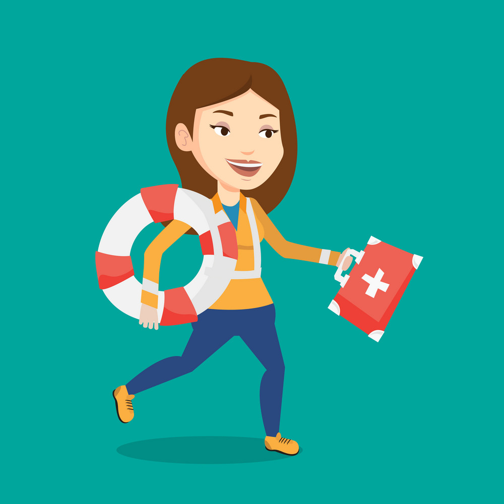 Young caucasian paramedic running to patients. Paramedic running with first aid box. Emergency doctor running with first aid box and lifebuoy. Vector flat design illustration. Square layout.
