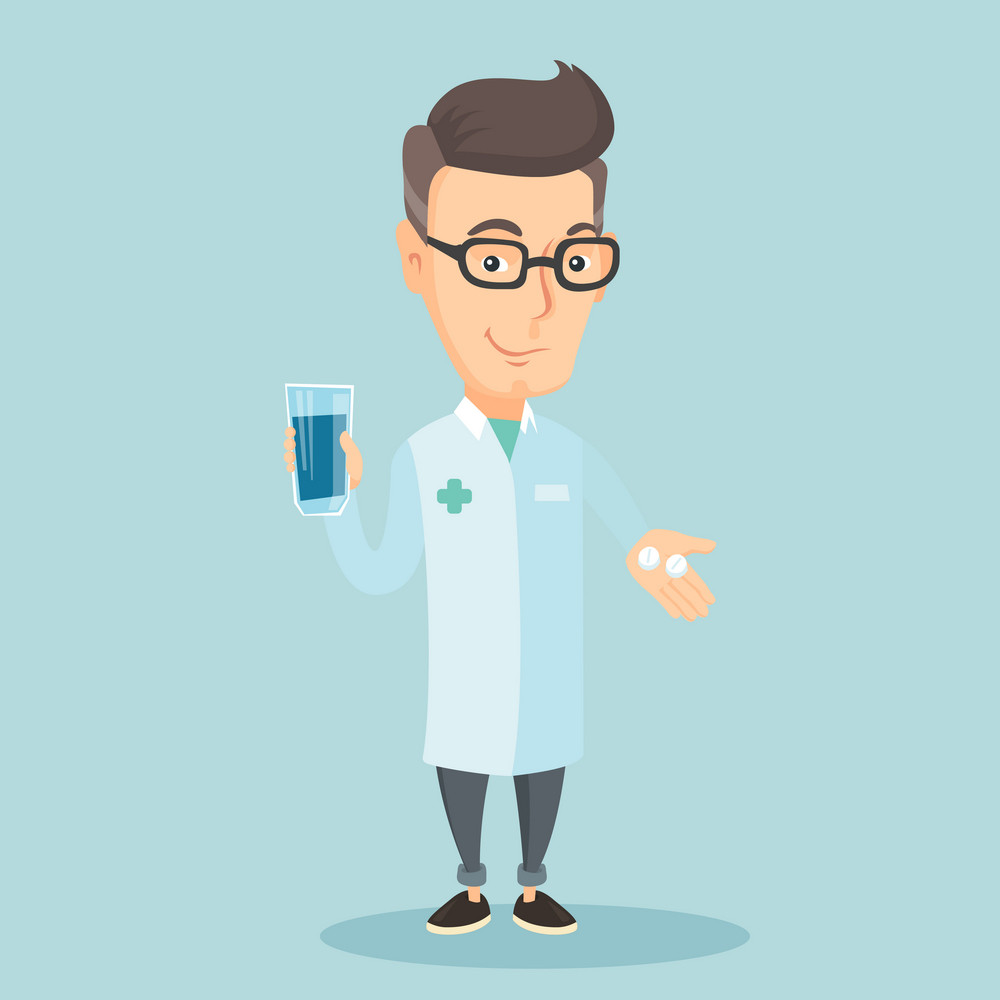 Young caucasian pharmacist holding a glass of water and pills in hands. Smiling adult pharmacist in medical gown. Friendly pharmacist giving medication. Vector flat design illustration. Square layout.