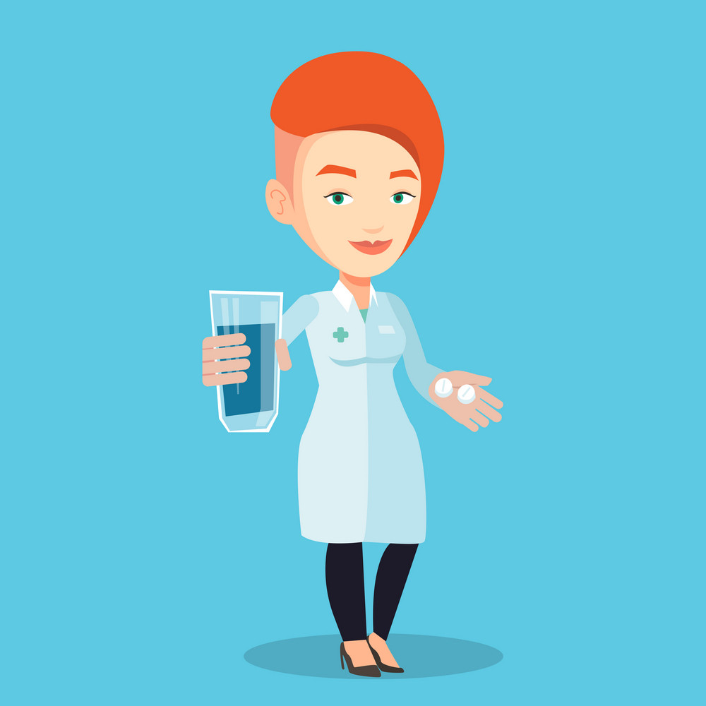 Young caucasian pharmacist holding a glass of water and pills in hands. Smiling female pharmacist in medical gown. Female pharmacist giving medication. Vector flat design illustration. Square layout.
