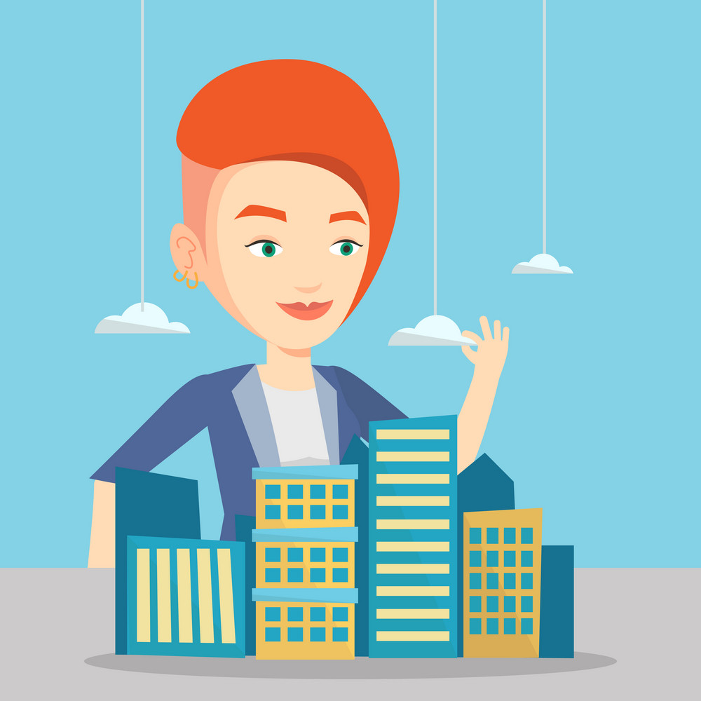 Young caucasian real estate agent presenting a model of city with clouds. Sales manager working with a project of a new modern district of the city. Vector flat design illustration. Square layout.
