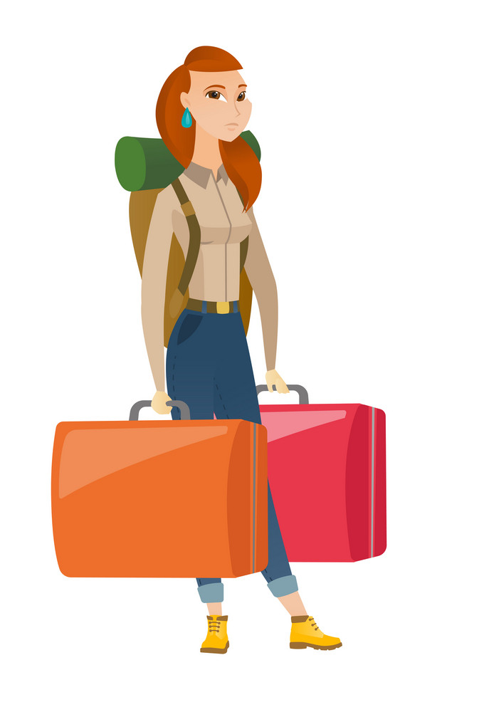 Young caucasian sad female tourist carrying heavy suitcases. Full length of disappointed female tourist holding two big vintage suitcases. Vector flat design illustration isolated on white background.