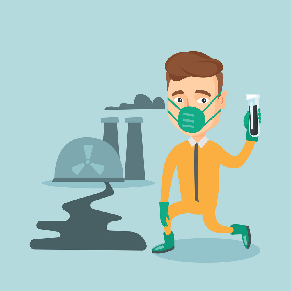 Young caucasian scientist in gas mask and radiation protective suit holding a test-tube with black liquid on the background of nuclear power plant. Vector flat design illustration. Square layout.