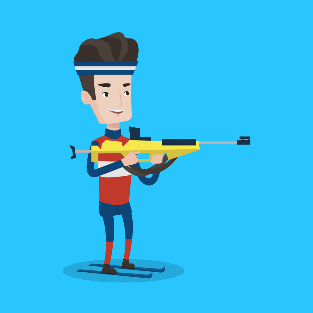 Young caucasian sportsman taking part in ski biathlon competition. Cheerful biathlon runner aiming at the target. Male biathlon shooter with a weapon. Vector flat design illustration. Square layout.