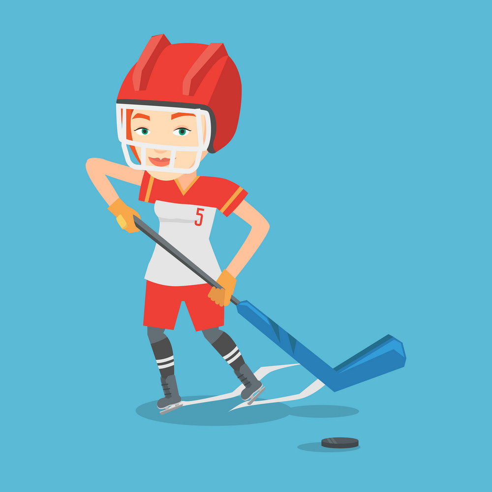 Young caucasian sportswoman playing ice hockey. Female ice hockey player in uniform skating on a rink. Female ice hockey player with a stick and puck. Vector flat design illustration. Square layout.