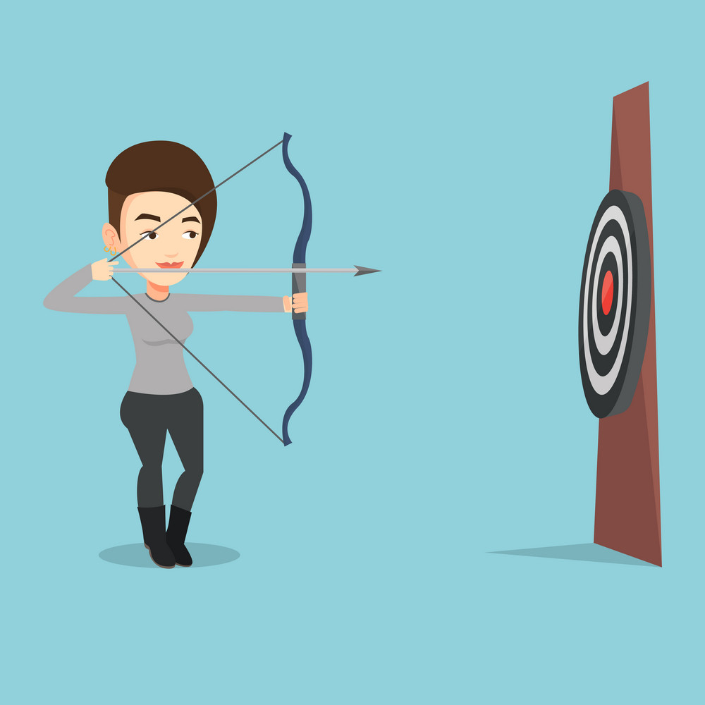 Young caucasian sportswoman shooting with bows during archery competition. Bowman aiming with bow and arrow at the target. Bowman practicing with bow. Vector flat design illustration. Square layout.