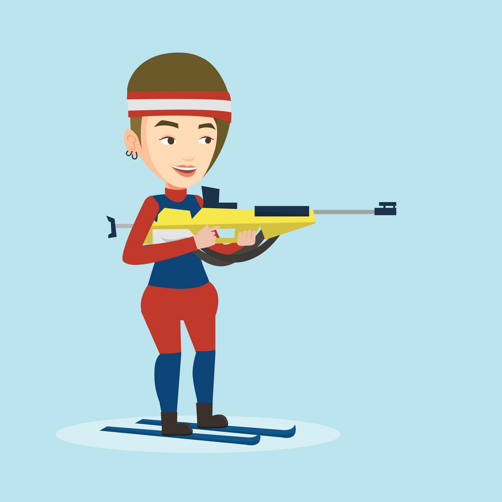 Young caucasian sportswoman taking part in ski biathlon competition. Happy biathlon runner aiming at the target. Female biathlon shooter with a weapon. Vector flat design illustration. Square layout.