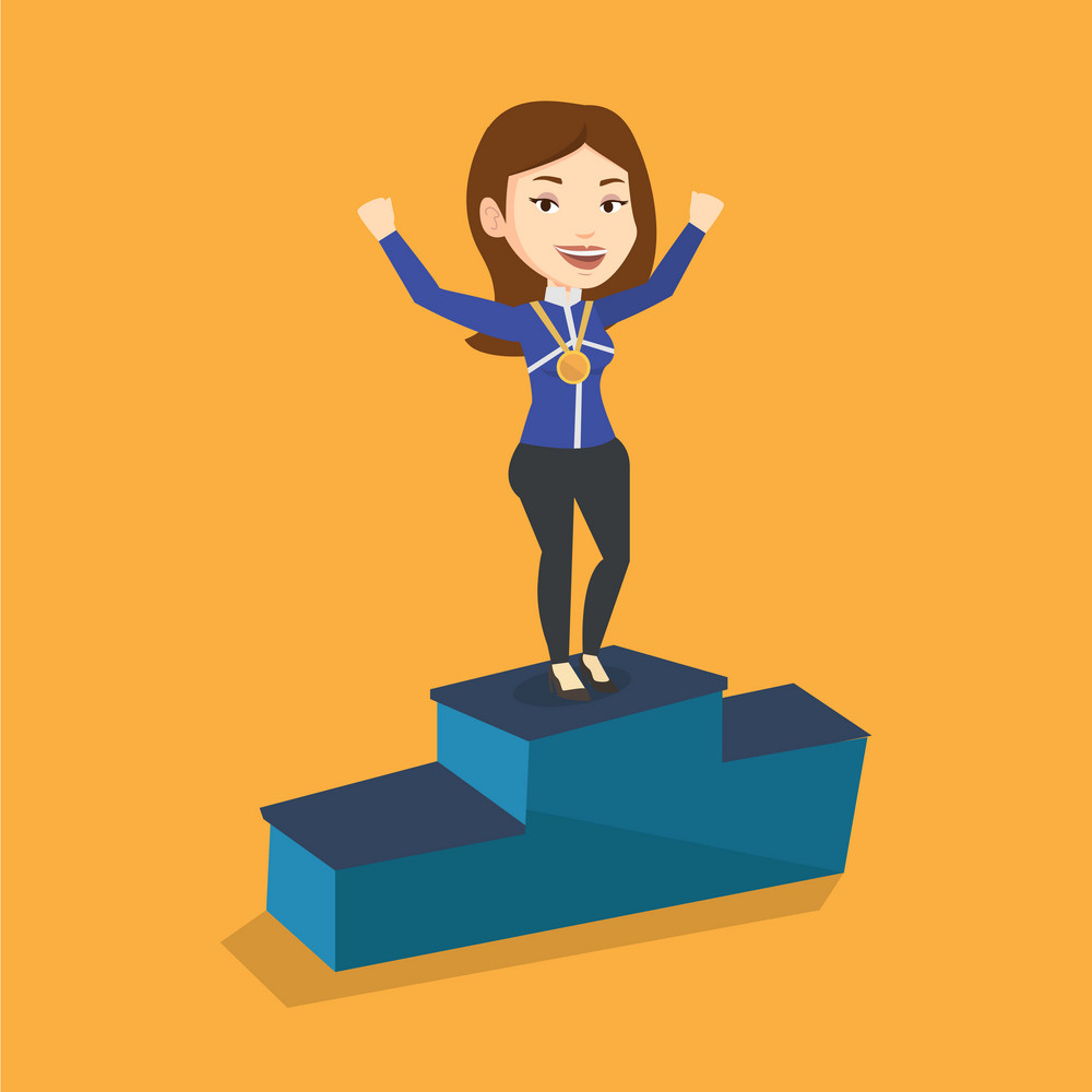 Young caucasian sportswoman with gold medal and raised hands standing on the winners podium. Woman celebrating on the winners podium. Winner concept. Vector flat design illustration. Square layout.