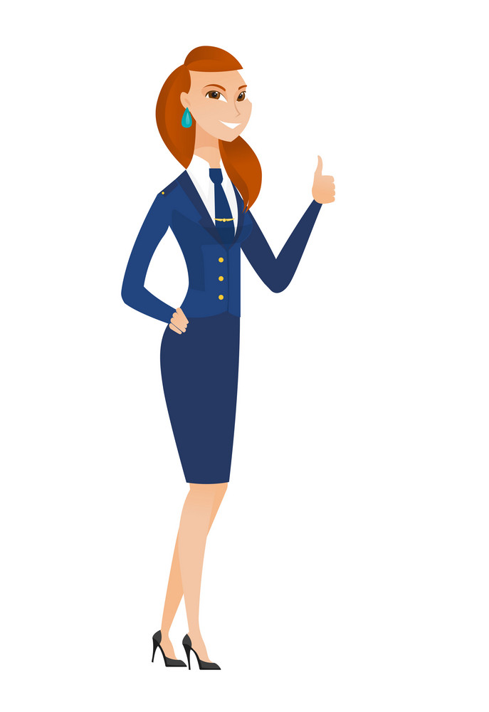 Young caucasian stewardess giving thumb up. Full length of smiling stewardess with thumb up. Cheerful stewardess showing thumb up. Vector flat design illustration isolated on white background.