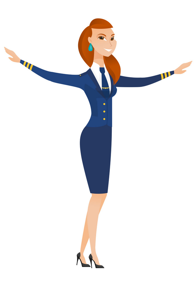 Young caucasian stewardess with arms outstretched. Full length of happy stewardess in uniform gesturing her outstretched arms as a plane. Vector flat design illustration isolated on white background.