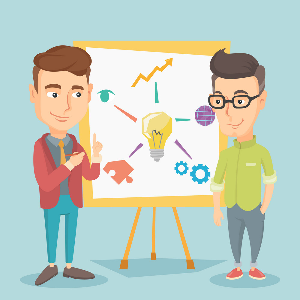 Young caucasian student explaining a project to professor. Group of students working on a project. Smart student drawing a project on a whiteboard. Vector flat design illustration. Square layout.