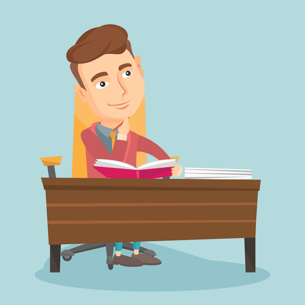 Young caucasian student sitting at the table and thinking. Thinking student writing in exercise book. Thinking smiling student doing homework. Vector flat design illustration. Square layout.