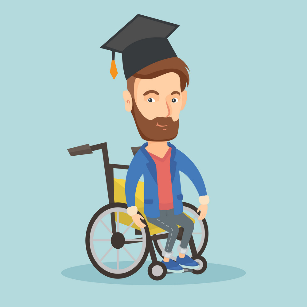Young caucasian student sitting in wheelchair. Cheerful graduate sitting in wheelchair. Happy disabled graduate in graduation cap sitting in wheelchair. Vector flat design illustration. Square layout.