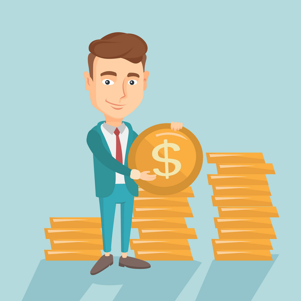 Young caucasian successful business man with dollar golden coin in hands. Successful business man holding golden coin. Business success concept. Vector flat design illustration. Square layout.