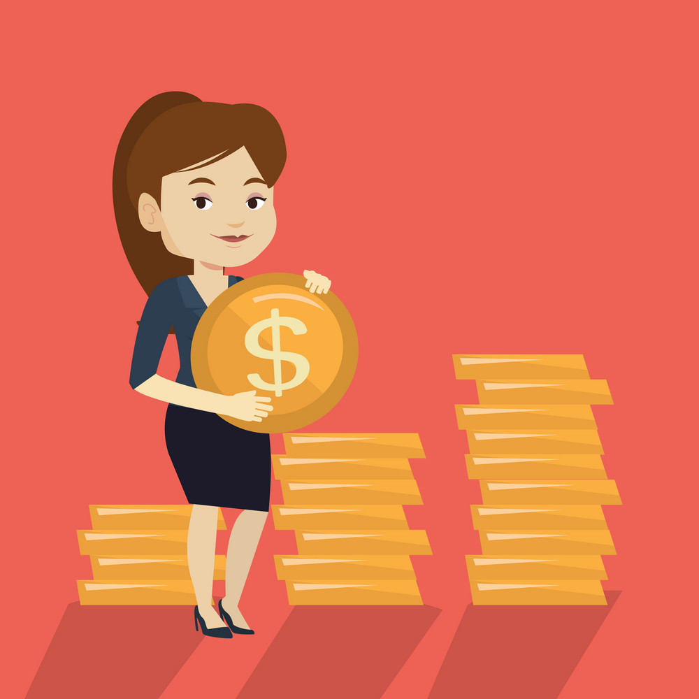 Young caucasian successful business woman with dollar golden coin in hands. Successful business woman holding golden coin. Business success concept. Vector flat design illustration. Square layout.