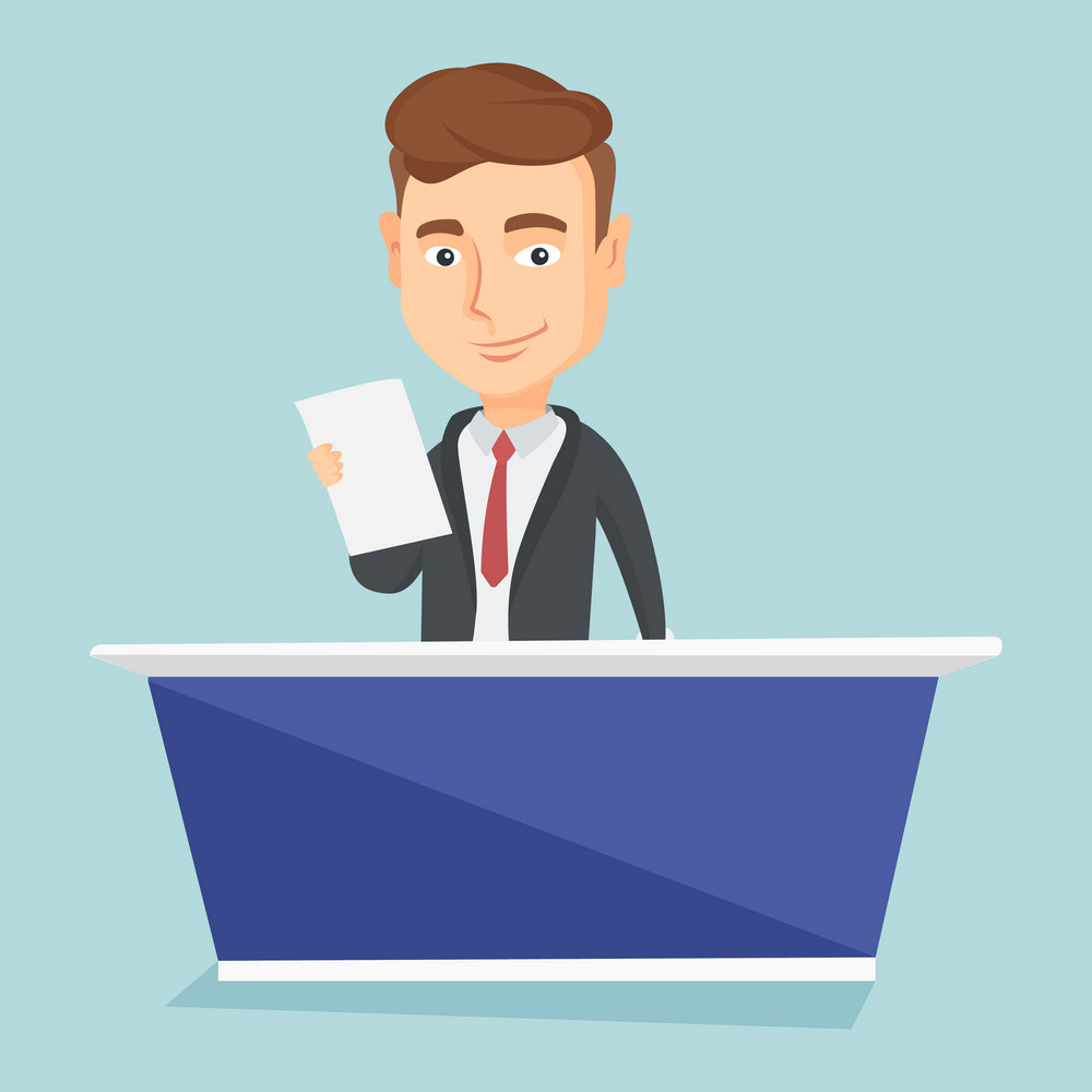 Young caucasian television anchorman at studio during live broadcasting. Television anchorman in suit working at studio. Tv anchorman reporting the news. Vector flat design illustration. Square layout