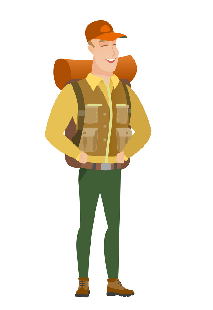 Young caucasian traveler laughing. Traveler laughing with hands on his stomach. Traveler laughing with closed eyes and open mouth. Vector flat design illustration isolated on white background.