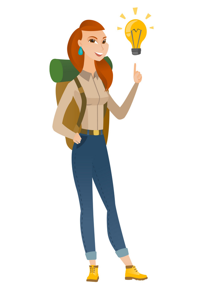 Young caucasian traveler pointing at bright idea light bulb. Full length of traveler having a creative idea. Successful idea concept. Vector flat design illustration isolated on white background.