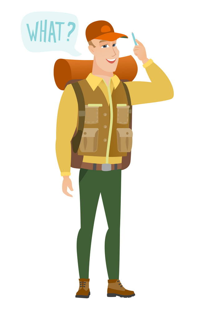 Young caucasian traveler with question what in speech bubble. Full length of smiling traveler with text what in speech bubble. Vector flat design illustration isolated on white background.