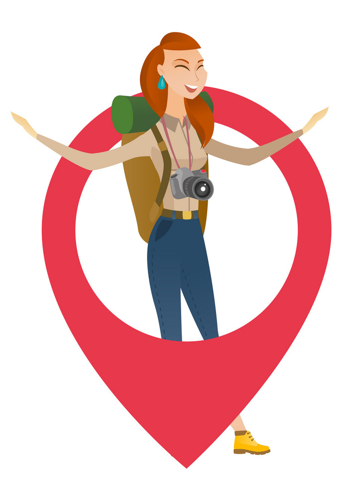 Young caucasian traveler woman with binoculars jumping through a big map pointer. Full length of smiling traveler woman with map pointer. Vector flat design illustration isolated on white background.