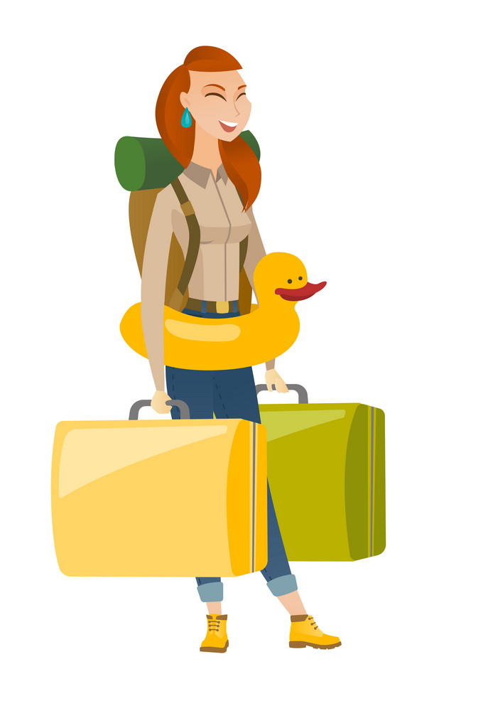 Young caucasian traveler woman with suitcases in hands and inflatable ring with duck on her waist. Happy traveler woman in inflatable ring. Vector flat design illustration isolated on white background
