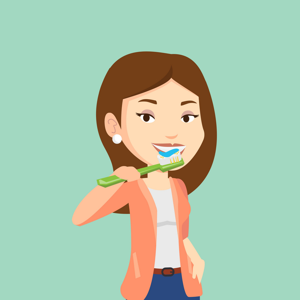 Young caucasian woman brushing her teeth. Smiling woman cleaning teeth. Cheerful woman taking care of her teeth. Happy girl with toothbrush in hand. Vector flat design illustration. Square layout.