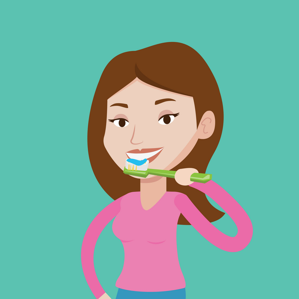Young caucasian woman brushing her teeth. Smiling woman cleaning teeth. Woman with toothbrush in hand. Vector flat design illustration. Square layout.