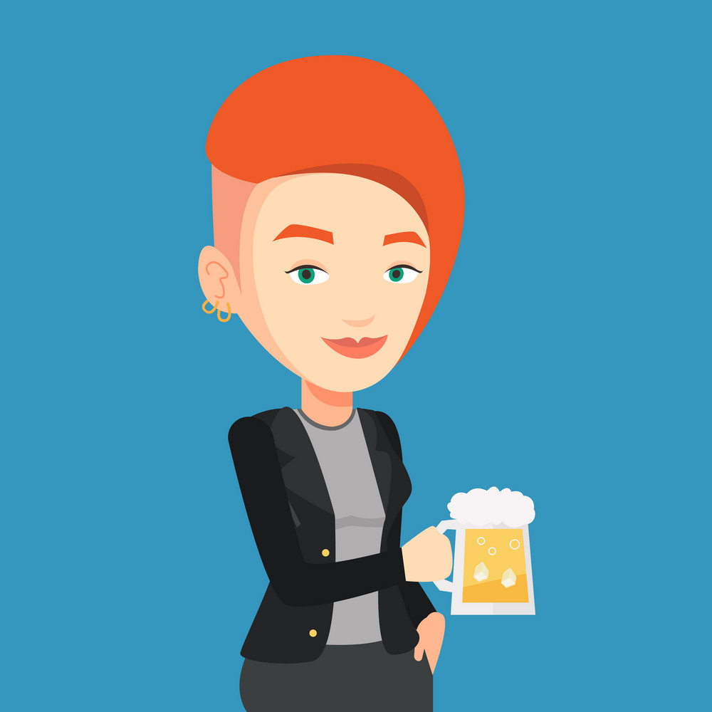 Young caucasian woman celebrating with beer. Smiling woman holding a big glass of beer. Full length of female beer fan. Vector flat design illustration. Square layout.
