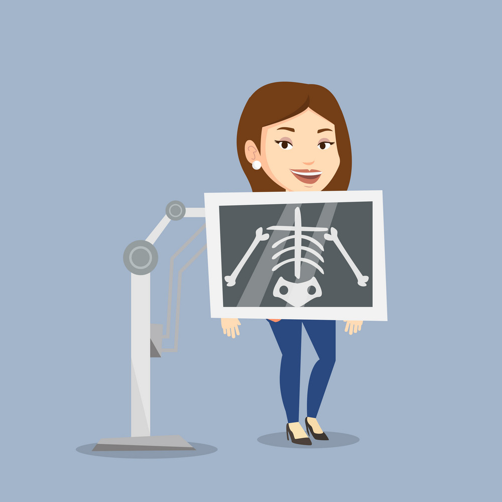Young caucasian woman during chest x ray procedure. Smiling woman with x ray screen showing her skeleton. Happy female patient visiting roentgenologist. Vector flat design illustration. Square layout.