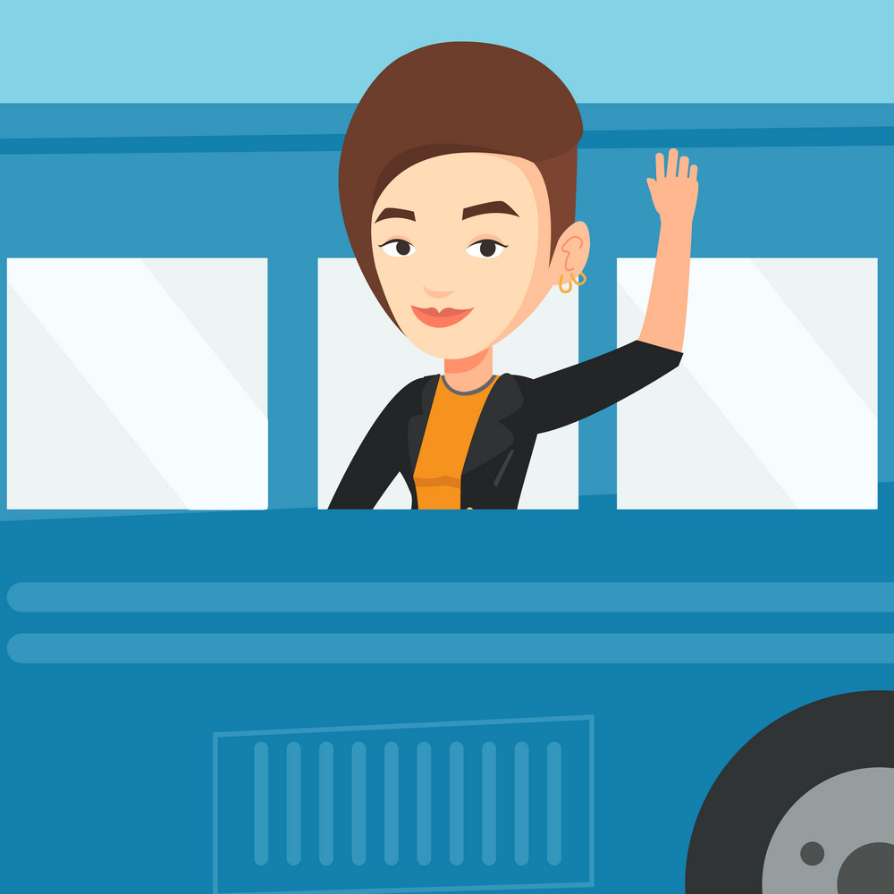 Young caucasian woman enjoying her trip by bus. Happy passenger waving hand from bus window. Smiling tourist peeking out of bus window and waving hand. Vector flat design illustration. Square layout.