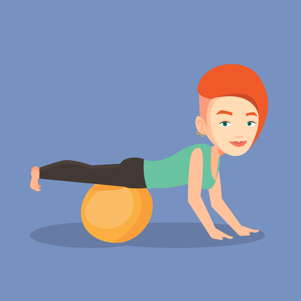 Young caucasian woman exercising with fitball. Woman training triceps and biceps while doing push ups on fitball. Woman doing exercises on fitball. Vector flat design illustration. Square layout