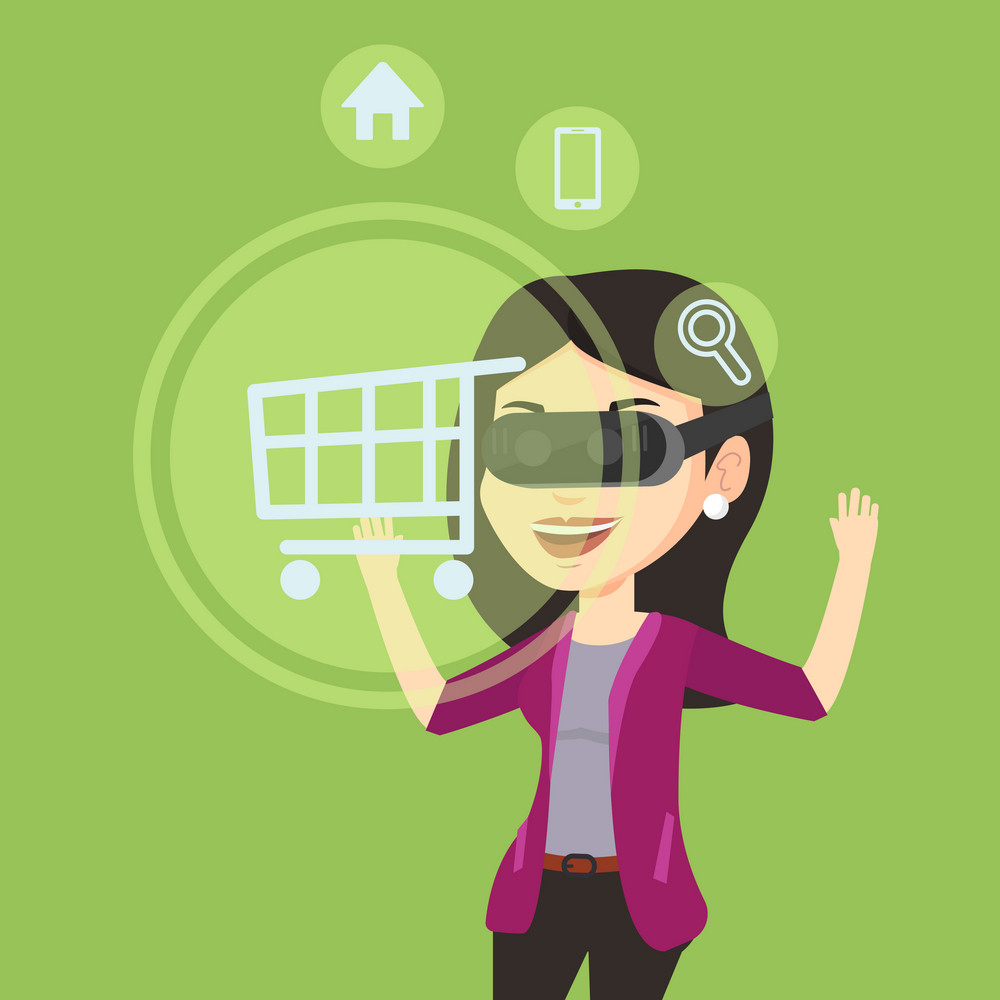 Young caucasian woman in virtual reality headset looking at shopping cart icon. Woman doing online shopping. Virtual reality and shopping online concept. Vector flat design illustration. Square layout
