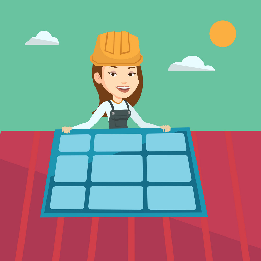 Young caucasian woman installing solar panels on roof. Technician in uniform and hard hat checking solar panel on roof. Engineer adjusting solar panel. Vector flat design illustration. Square layout.