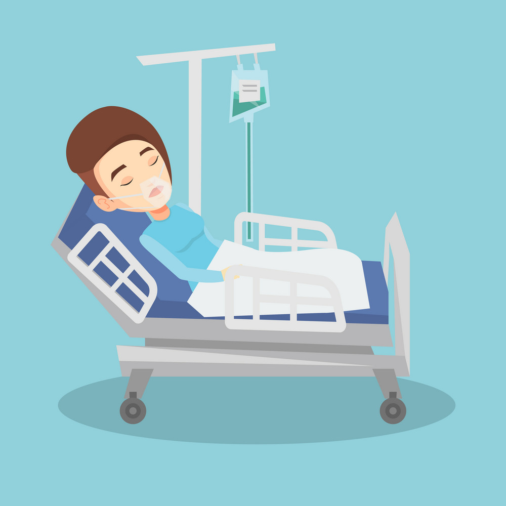 Young caucasian woman lying in hospital bed with oxygen mask. Woman during medical procedure with drop counter. Patient recovering in bed in hospital. Vector flat design illustration. Square layout.