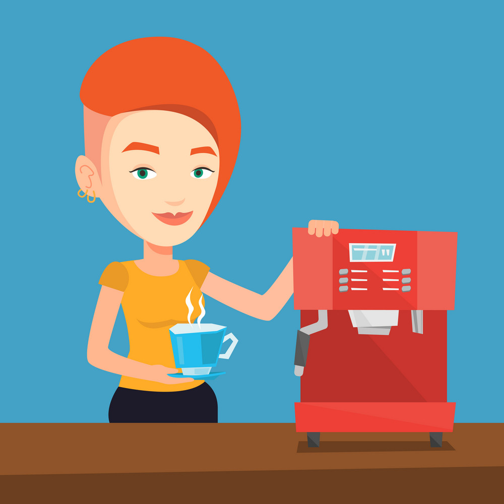 Young caucasian woman making coffee with a coffee-machine. Woman holding cup of hot coffee in hand. Vector flat design illustration. Square layout.