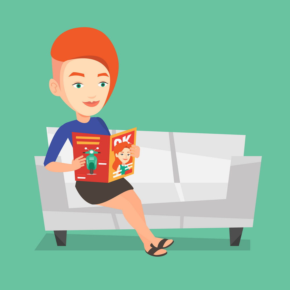 Young caucasian woman reading a magazine. Relaxed woman sitting on sofa and reading magazine. Smiling woman sitting on the couch with magazine in hands. Vector flat design illustration. Square layout.