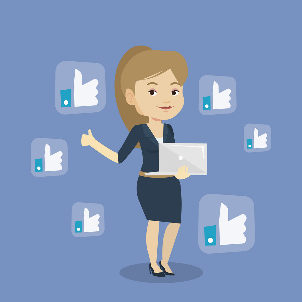 Young caucasian woman showing thumb up and like social network buttons around her. Happy woman with laptop and like social network buttons with thumb up. Vector flat design illustration. Square layout