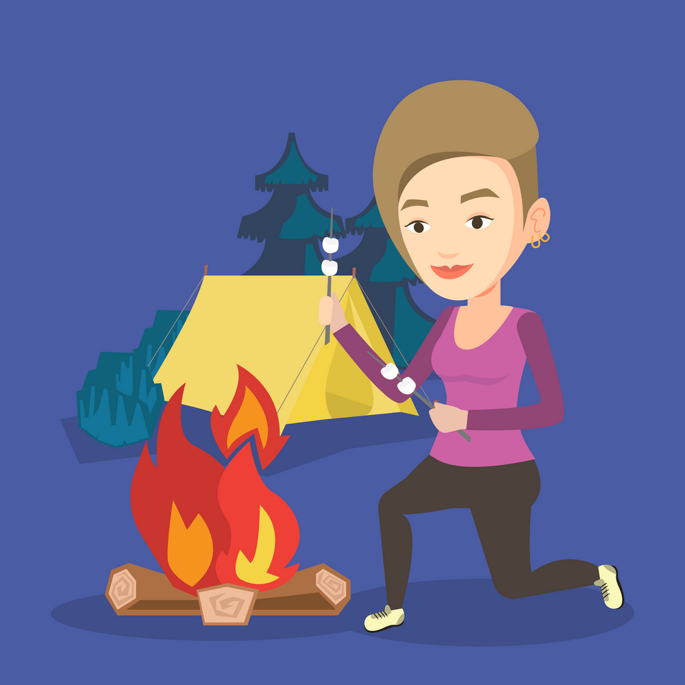 Young caucasian woman sitting near campfire. Woman roasting marshmallow over campfire. Tourist relaxing near campfire on the background of camping site. Vector flat design illustration. Square layout.