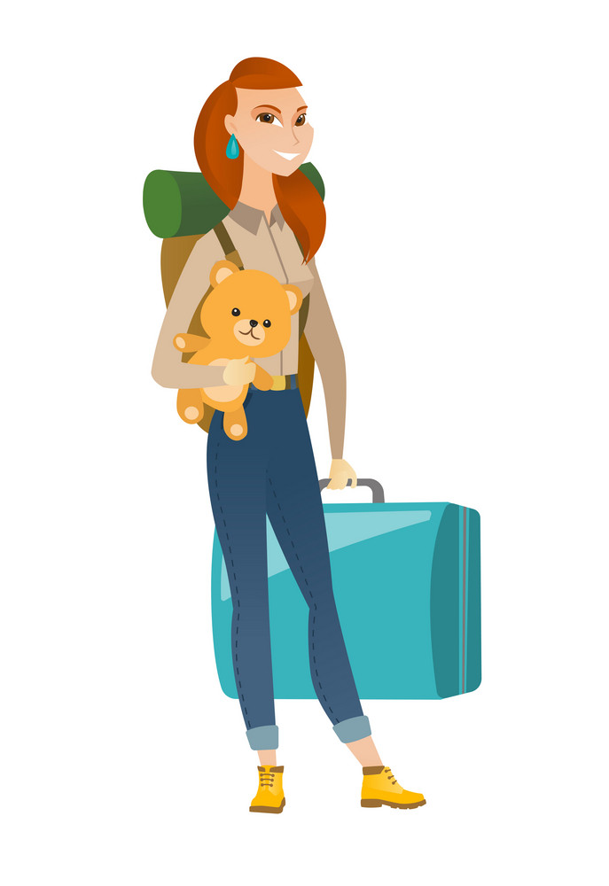 Young caucasian woman traveling with old suitcase, backpack and teddy bear. Full length of happy woman traveler carrying vintage suitcase. Vector flat design illustration isolated on white background.