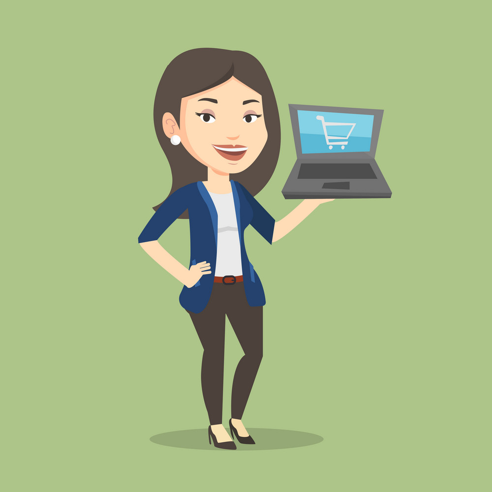 Young caucasian woman using laptop for online shopping. Female customer holding laptop with shopping trolley on a screen. Woman doing online shopping. Vector flat design illustration. Square layout.