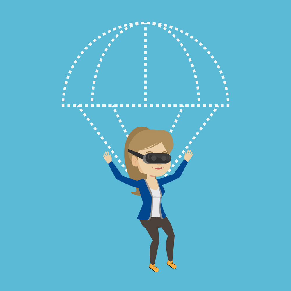 Young caucasian woman wearing virtual reality glasses and flying with parachute. Excited woman in vr headset having fun while flying in virtual reality. Vector flat design illustration. Square layout.