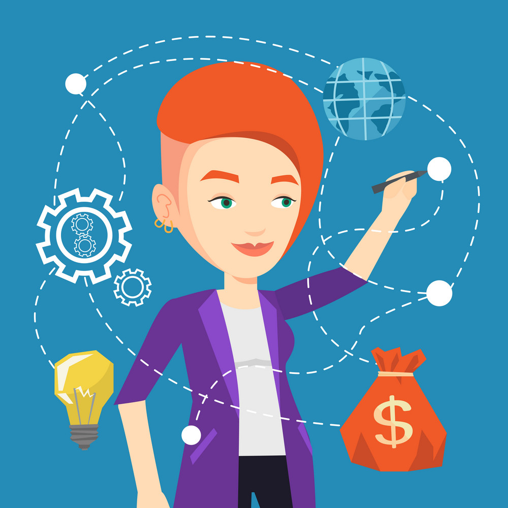 Young caucasian woman writing on a virtual screen. Cheerful businesswoman drawing a cloud computing diagram on a virtual screen. Cloud computing concept. Vector flat design illustration. Square layout