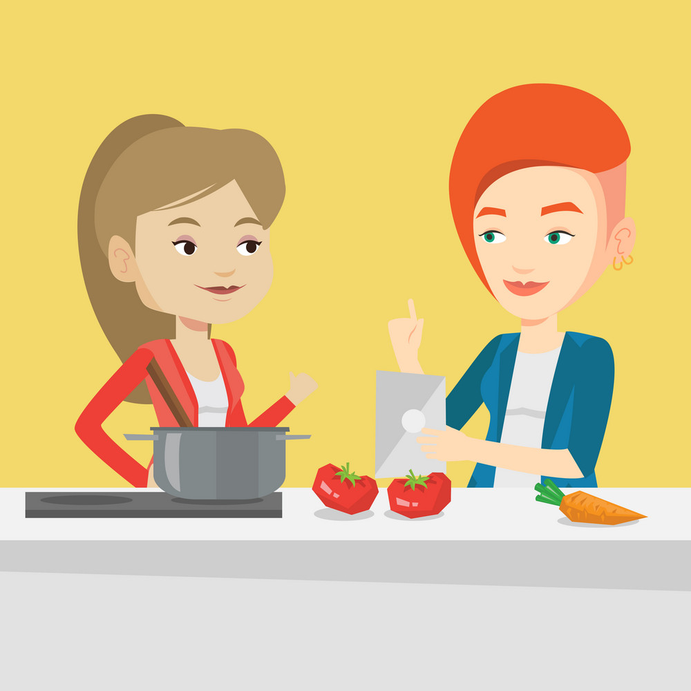 Young caucasian women following recipe for healthy vegetable meal on digital tablet. Women cooking healthy meal. Women having fun cooking together. Vector flat design illustration. Square layout.