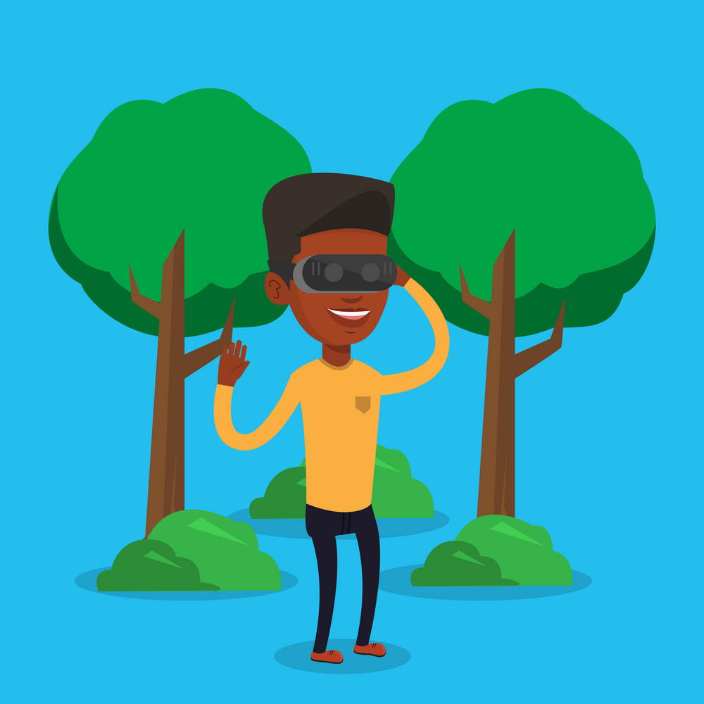 Young cheerful african-american gamer wearing virtual reality headset in the park. Man using virtual reality glasses and playing videogame in the park. Vector flat design illustration. Square layout.