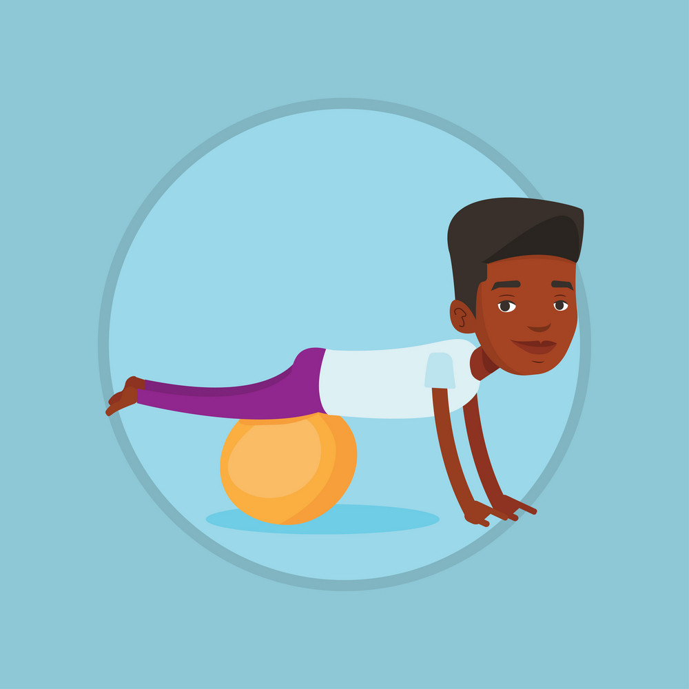 Young cheerful african-american man exercising with fit ball. Smiling man training on fitball. Man doing exercises on fitball. Vector flat design illustration in the circle isolated on background.