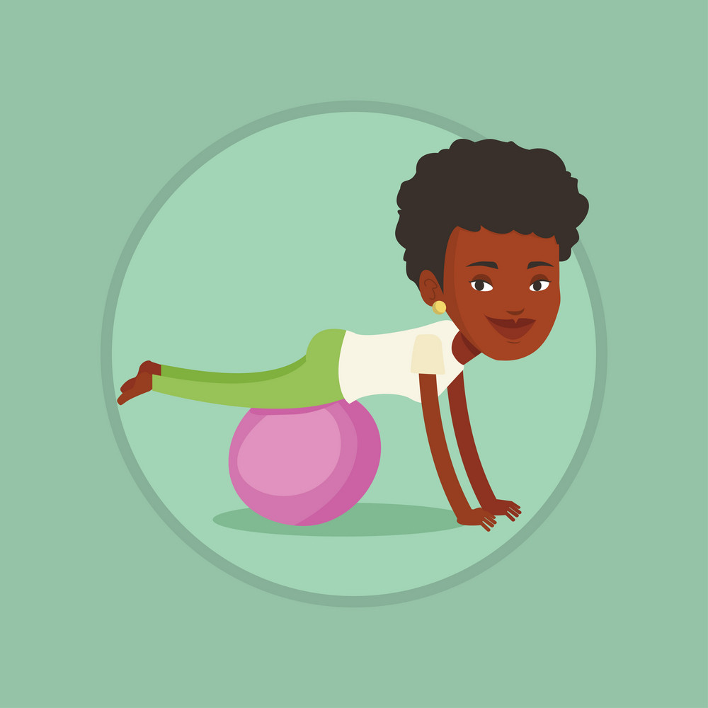 Young cheerful african-american woman exercising with fitball. Smiling woman training on fitball. Woman doing exercises on fitball. Vector flat design illustration in the circle isolated on background