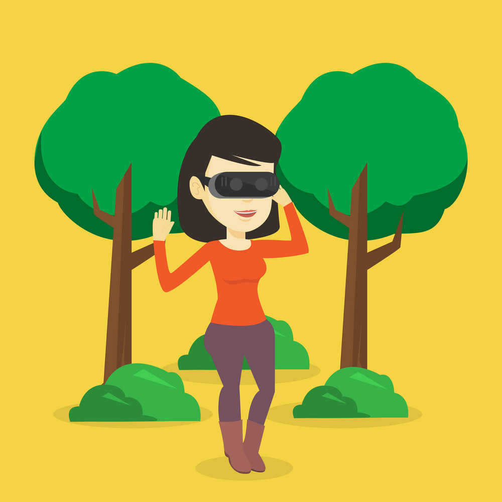 Young cheerful asian gamer wearing virtual reality headset in the park. Happy woman using virtual reality glasses and playing videogame in the park. Vector flat design illustration. Square layout.