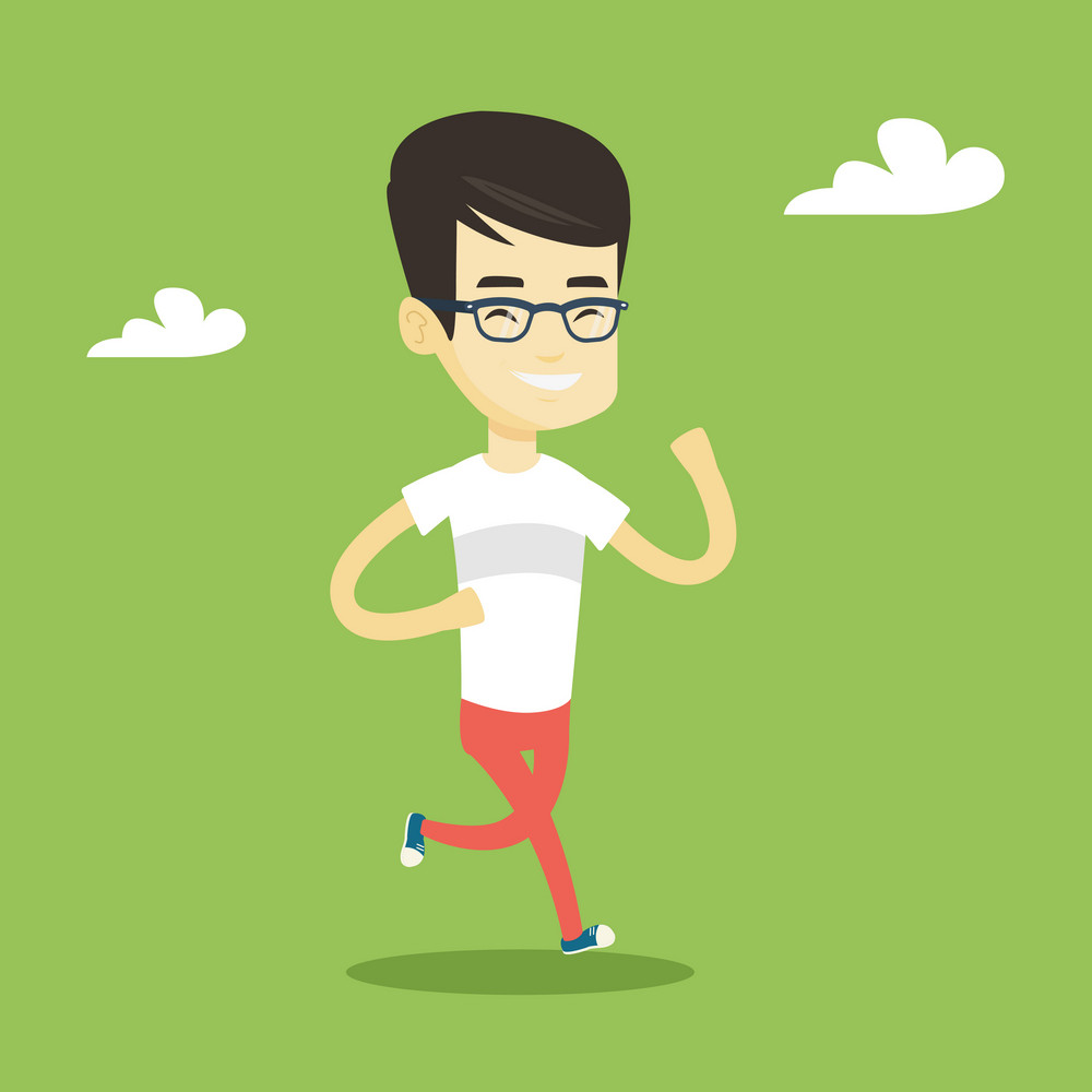 Young cheerful asian man running. Happy male runner jogging. Full length of a smiling male athlete running. Sportsman in sportswear running. Vector flat design illustration. Square layout.
